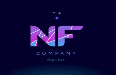 nf n f  colored blue pink purple alphabet letter logo icon vecto