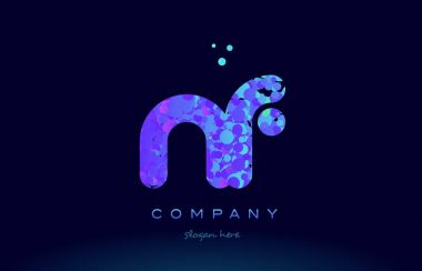 nf n f bubble circle dots pink blue alphabet letter logo icon vector