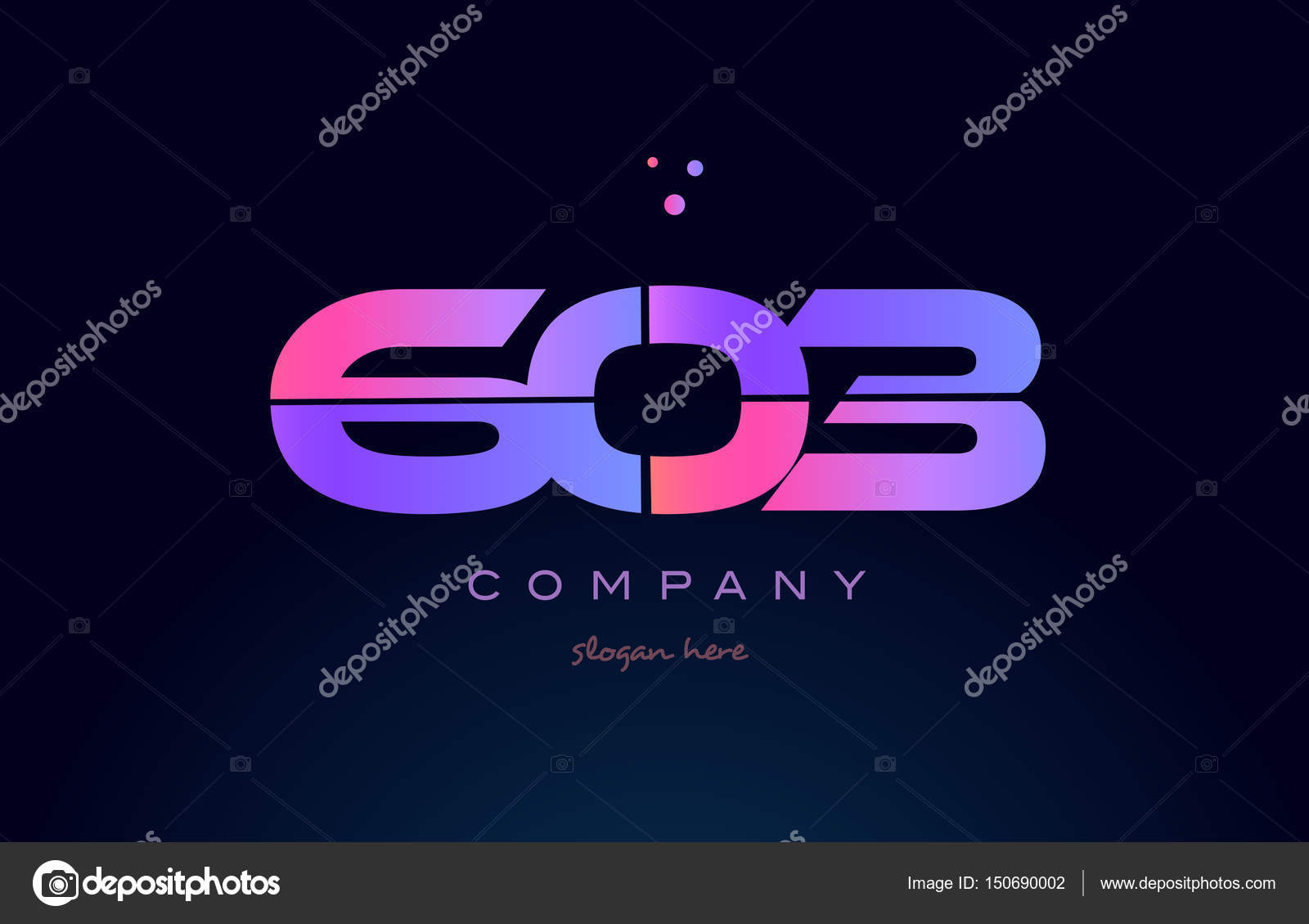 603 pink blue purple number digit numeral dots creative company logo vector  icon design template — Vector by dragomirescu
