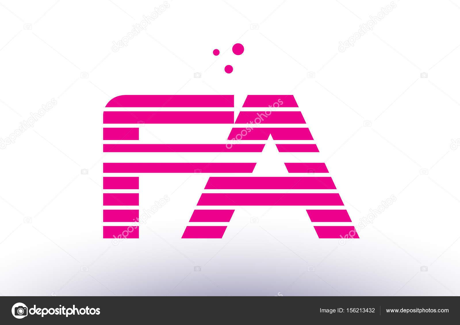 FA f una línea púrpura rosa raya alfabeto letra logo vector XI ...