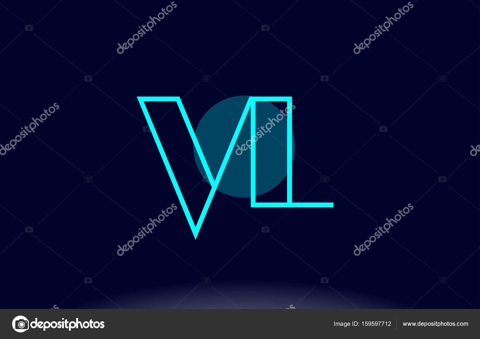 Vl V L Blaue Linie Kreis Alphabet Buchstaben Logo Symbol Vorlage