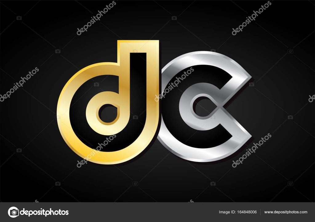 Gold Silver Letter Joint Logo Icon Alphabet Design Stock Vector