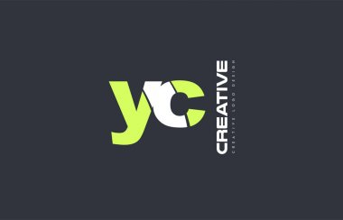 green letter yc y c combination logo icon company design joint j