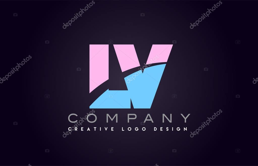 lv alphabet letter join joined letter logo design