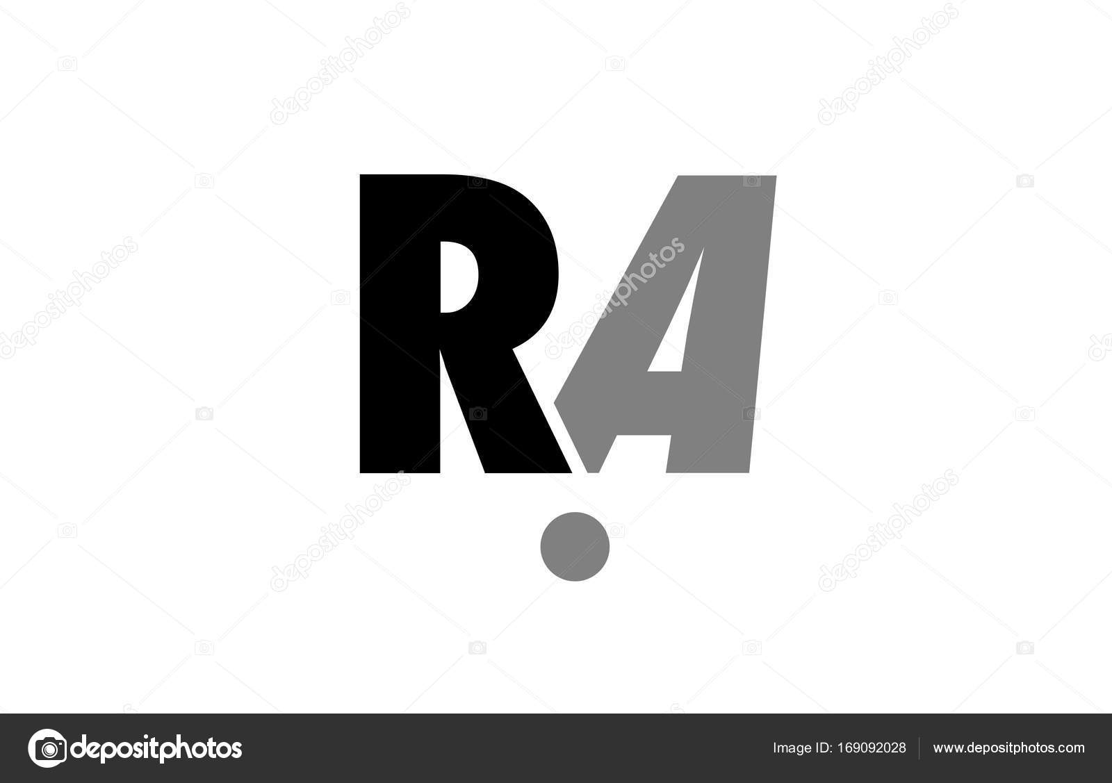 Ra R A Black White Grey Alphabet Letter Logo Icon Combination
