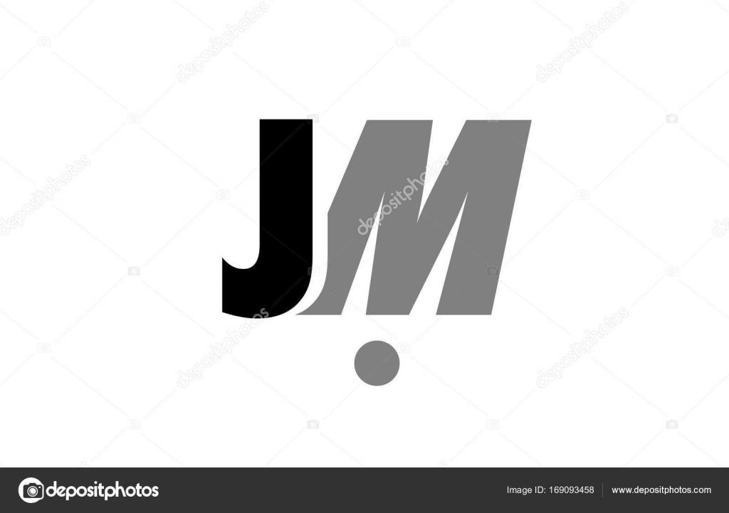 Jm J M Black White Grey Alphabet Letter Logo Icon Combination