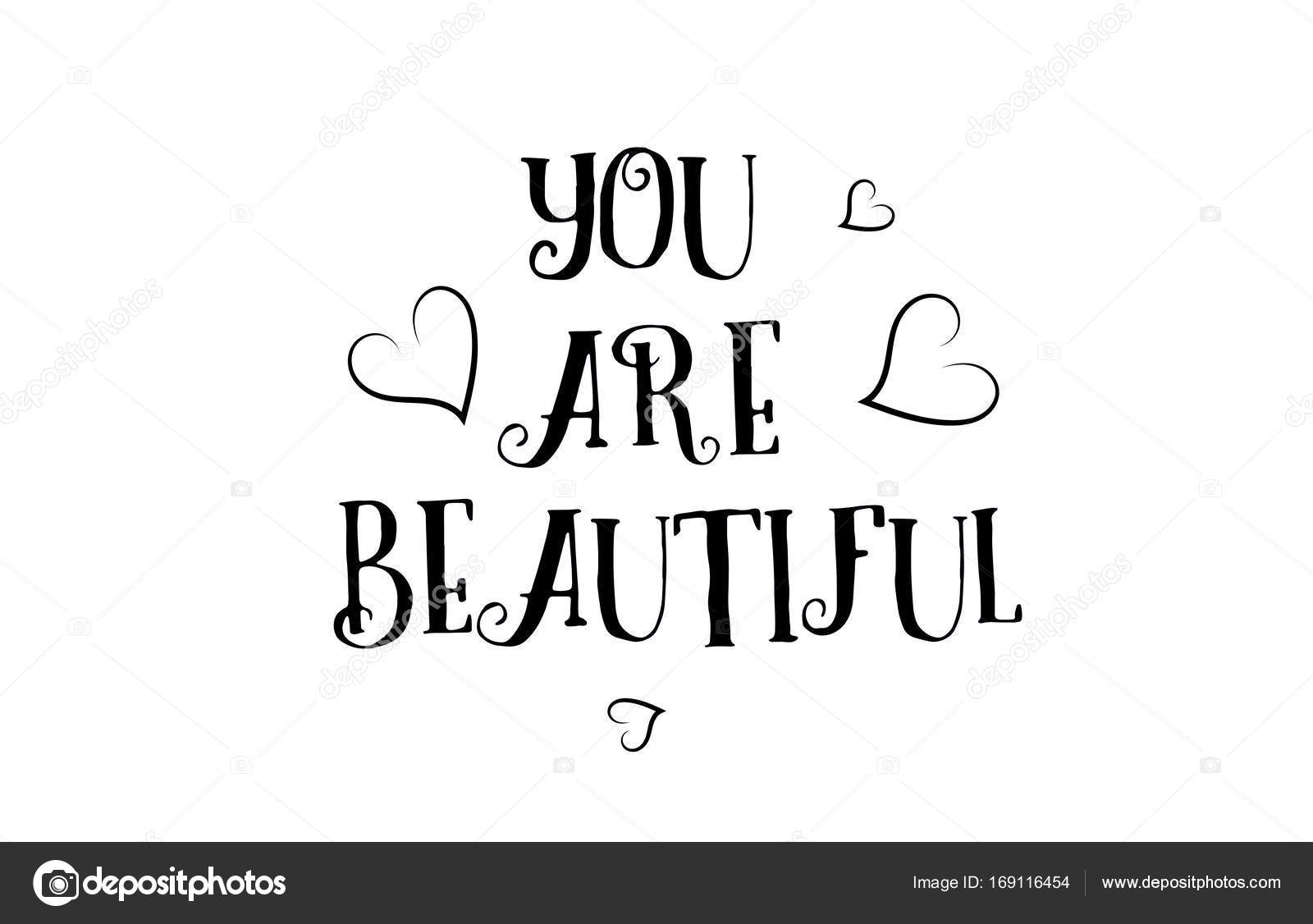 You Are Beautiful Love Quote Logo Greeting Card Poster Design