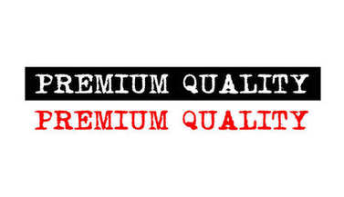 premium quality rubber stamp badge with typewriter set text logo