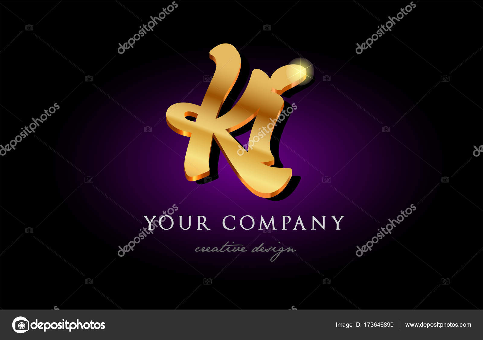 Ki K I 3d Gold Golden Alphabet Letter Metal Logo Icon Design H