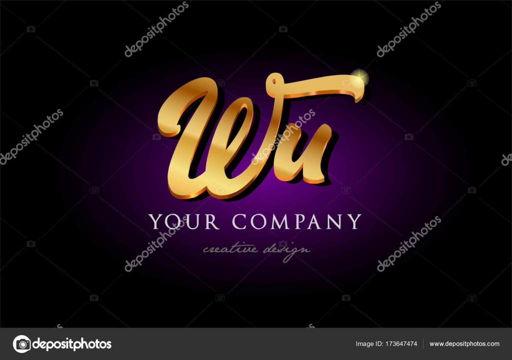 Wu W U 3d Gold Golden Alphabet Letter Metal Logo Icon Design H