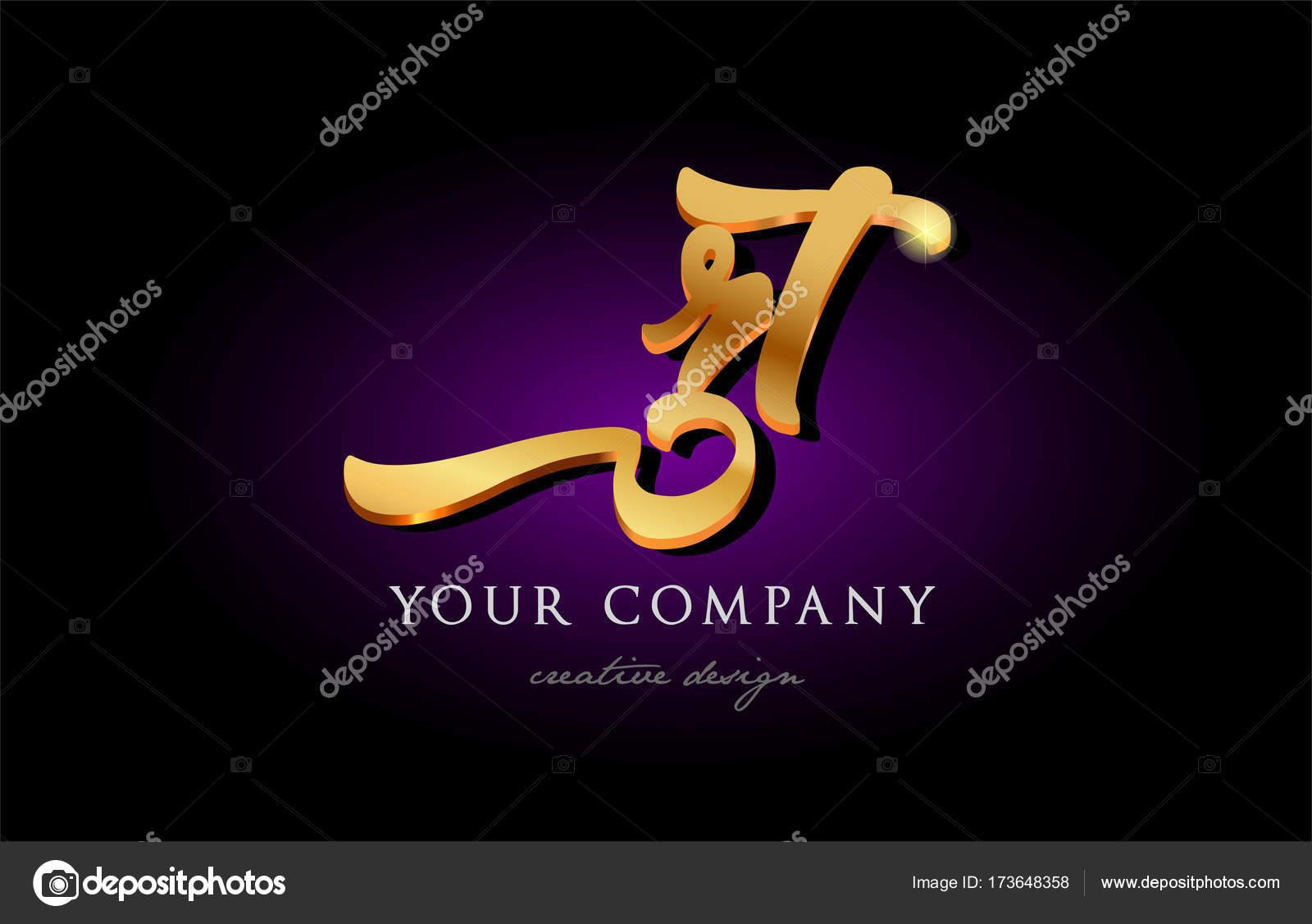 Rt R T 3d Gold Golden Alphabet Letter Metal Logo Icon Design Han