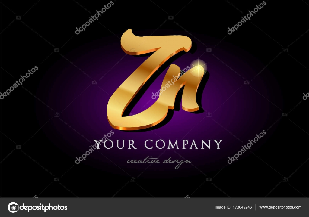 Zn Z N 3d Gold Golden Alphabet Letter Metal Logo Icon Design H
