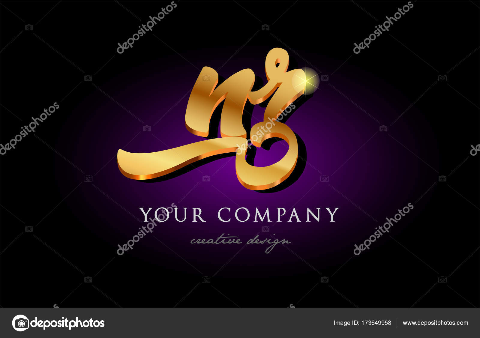 Nr N R 3d Gold Golden Alphabet Letter Metal Logo Icon Design Han