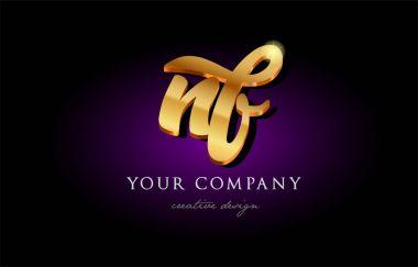 nf n f 3d gold golden alphabet letter metal logo icon design han