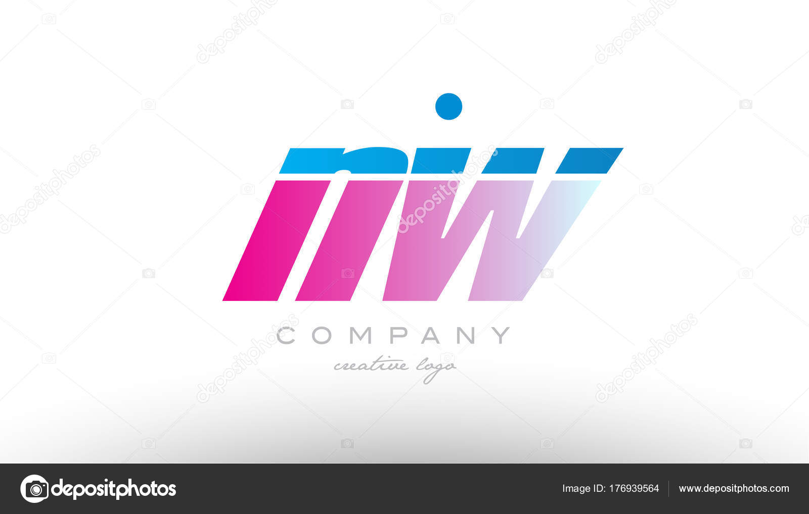 nw n w alphabet letter combination pink blue bold logo icon desi ...