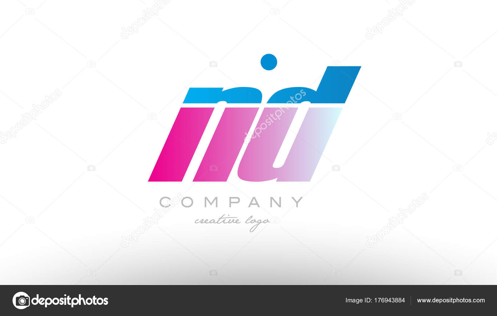 nd n d alphabet letter combination pink blue bold logo icon desi ...