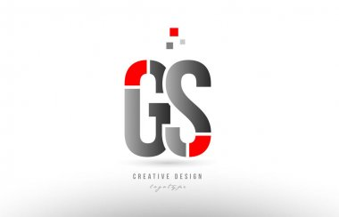 red grey alphabet letter gs g s logo combination icon design