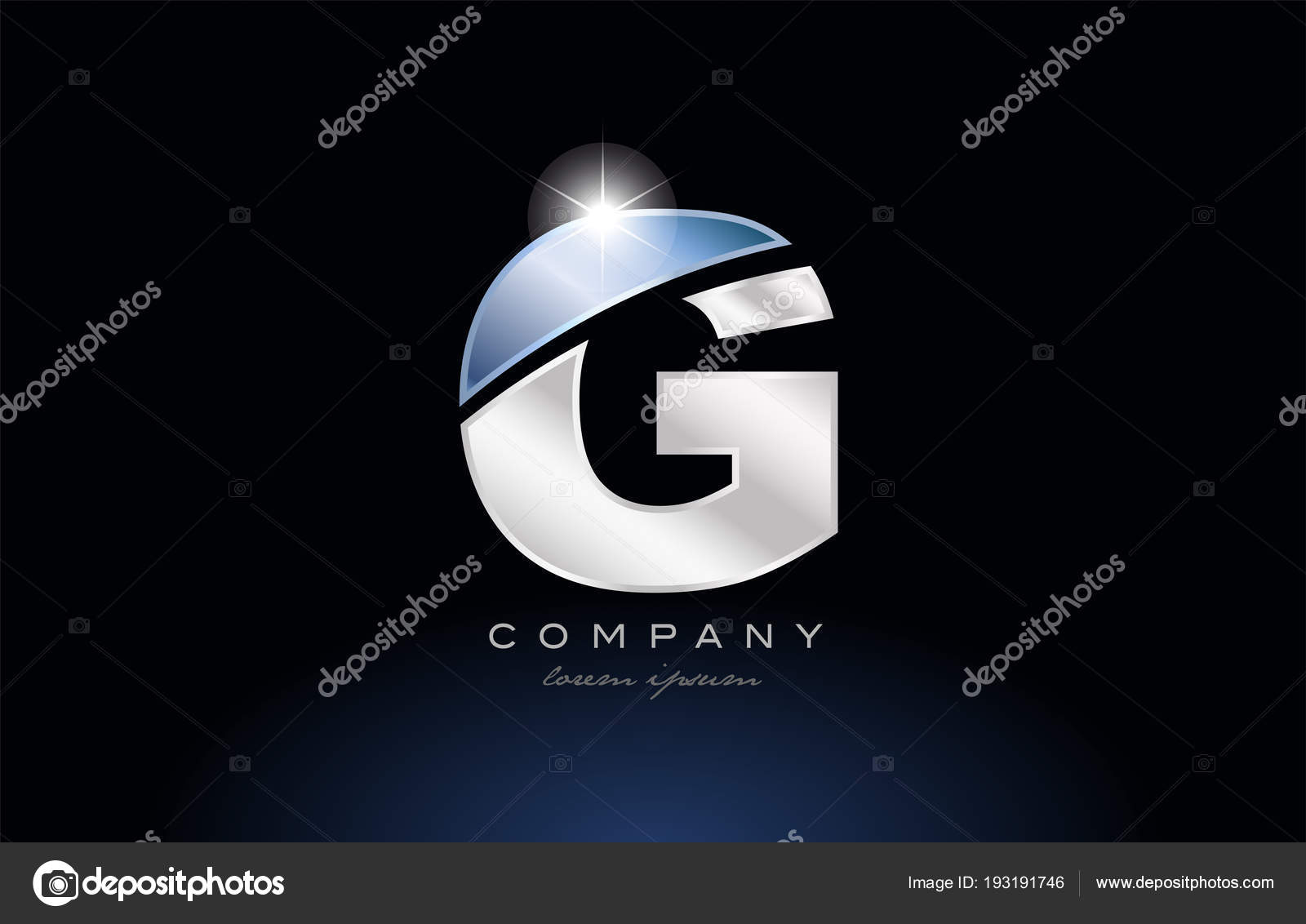 Metal Blue Alphabet Letter G Logo Company Icon Design