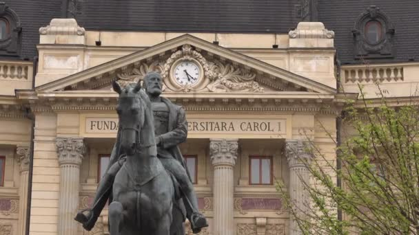 Bucharest, Romania - February 23 2020 - 4k video of Bucharest National Central University library building and statue of King Carol I of Romania. Closeup shot