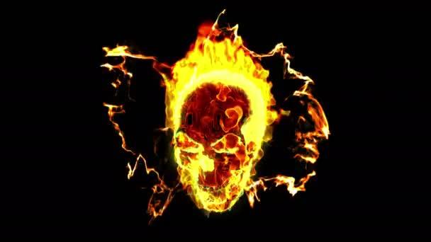 Hořící lebka ve tmě
