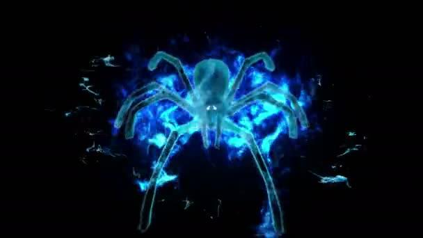 Hořící pavouk ve tmě