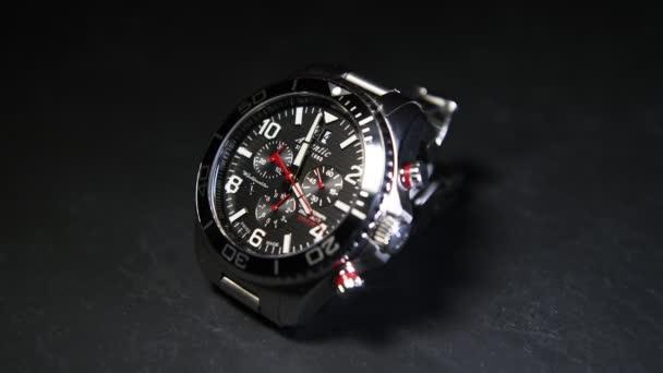 Saint-Petersburg, Russia - January 24, 2020: Male metal quartz watch with chronograph Atlantic Worldmaster Diver, close-up