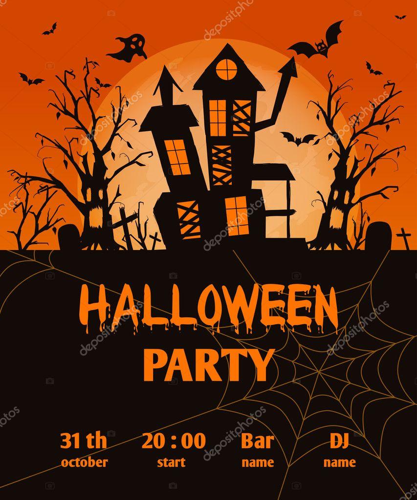 Halloween party invitation card halloween holidays stock vector halloween party invitation card halloween holidays stock vector stopboris Choice Image