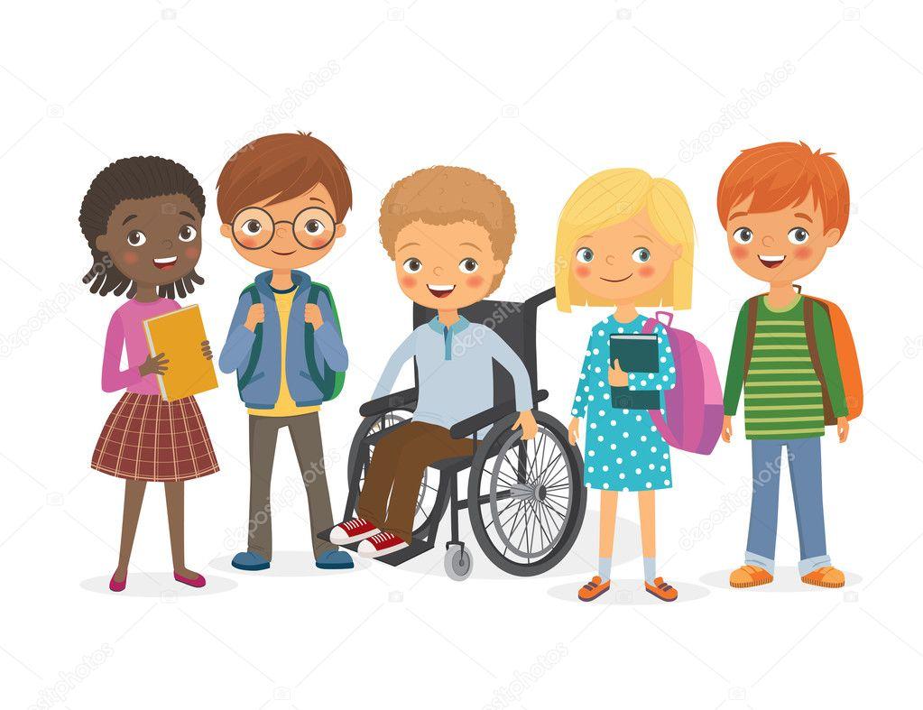 Enfant Handicapé Avec Ses Amis Internationaux Image