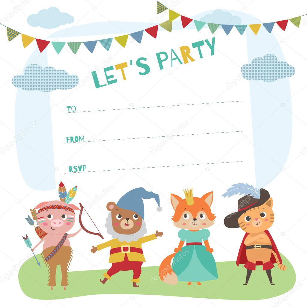 Birthday Card With Cute Little Animals Card Invitation For Costume Party Animal Kids In Different Costumes Premium Vector In Adobe Illustrator Ai Ai Format Encapsulated Postscript Eps Eps Format