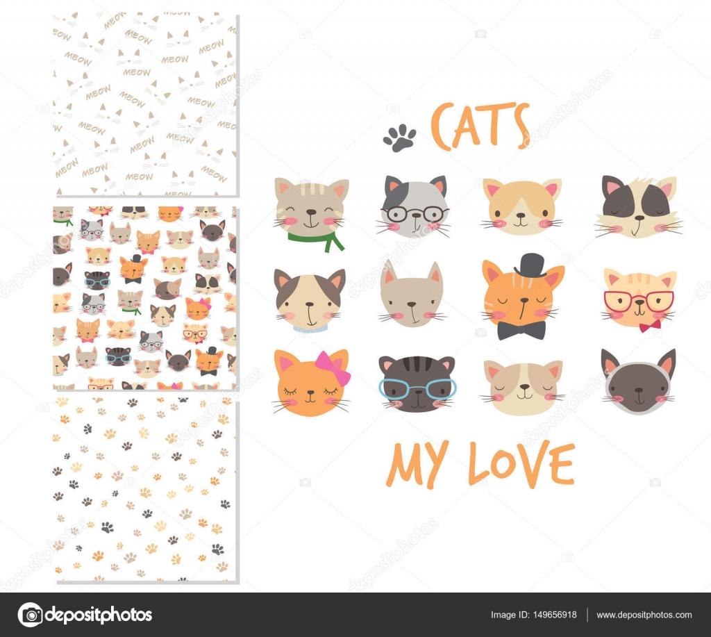 Dibujos: patrones para diseño de ropa | Cabezas de gatos. Dibujos ...