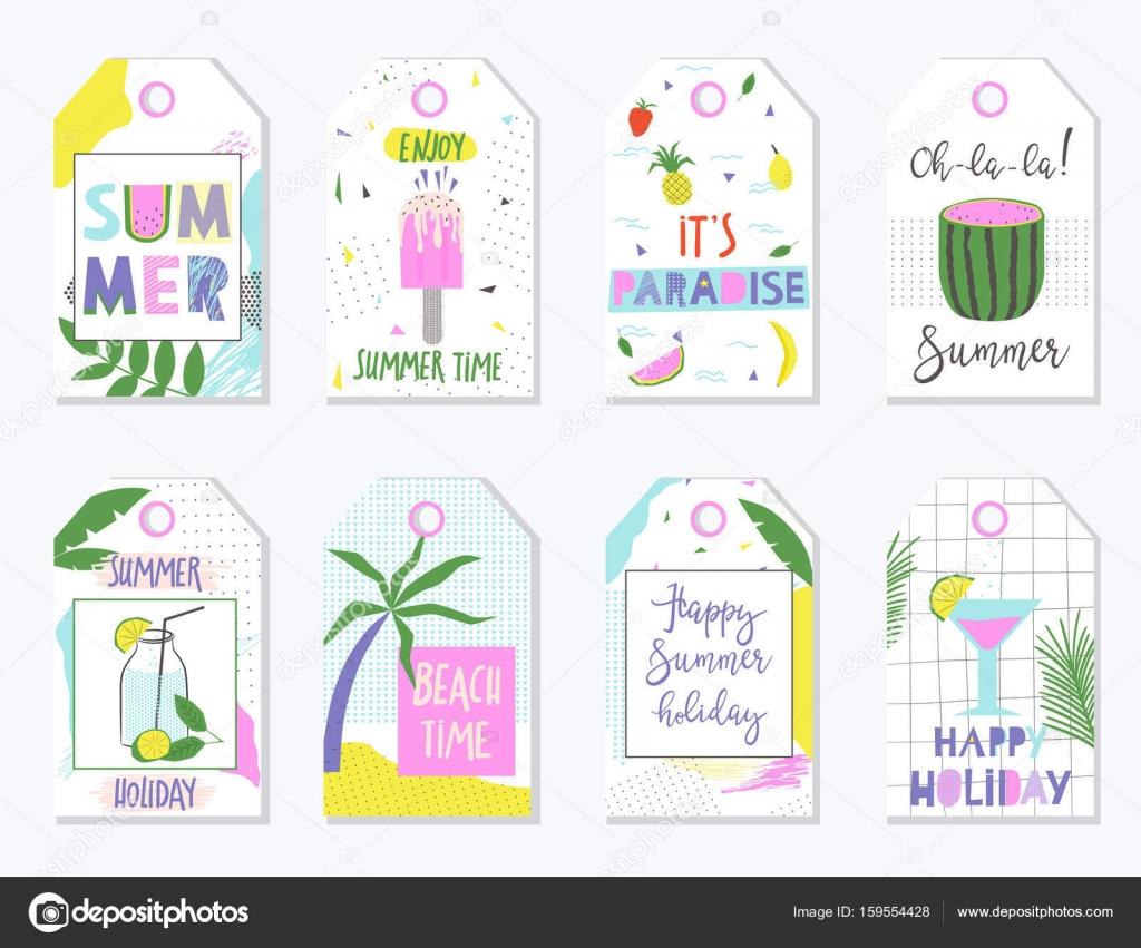 Bright Sommer Geschenk-Anhänger und Etiketten. Vektor-illustration ...