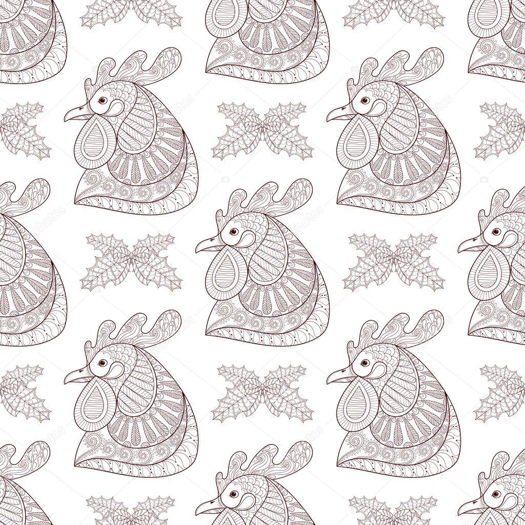 zentangle cartoon rooster with mistletoe seamless pattern hand