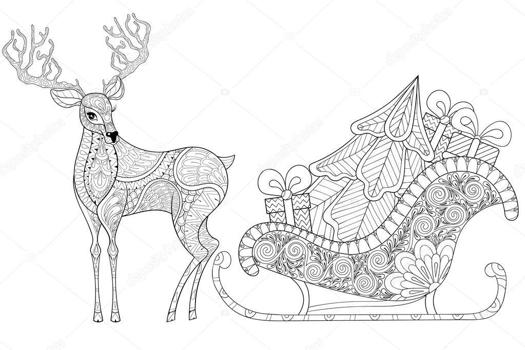 Reno con trineo de Santa con árbol de Navidad, regalos en pat ...