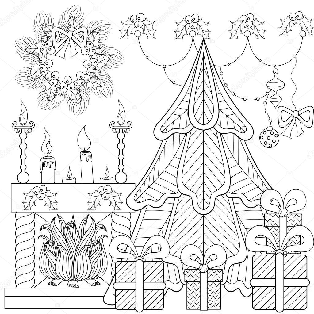 Estampado interior de casa de Navidad con chimenea, árbol de Navidad ...