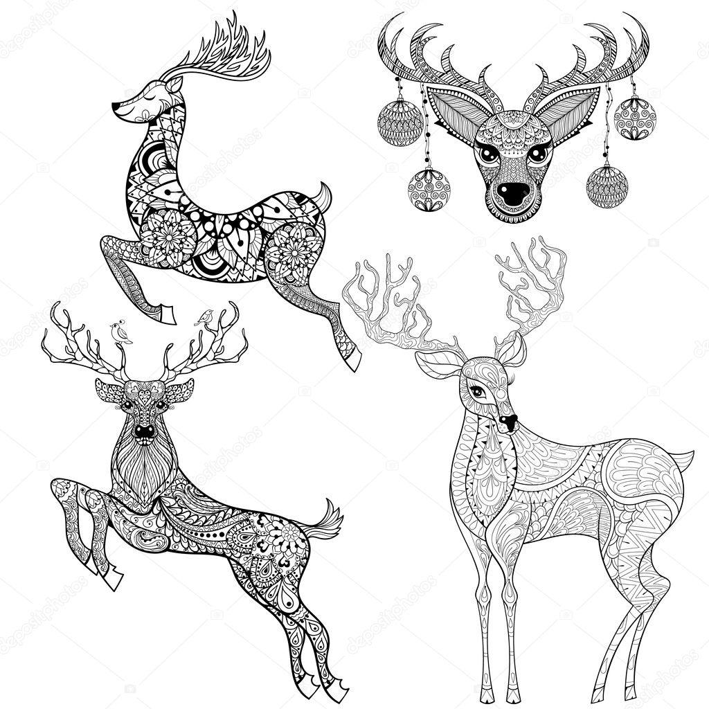 Weihnachten Rentier inmitten einer gemusterten Stil für Erwachsenen ...