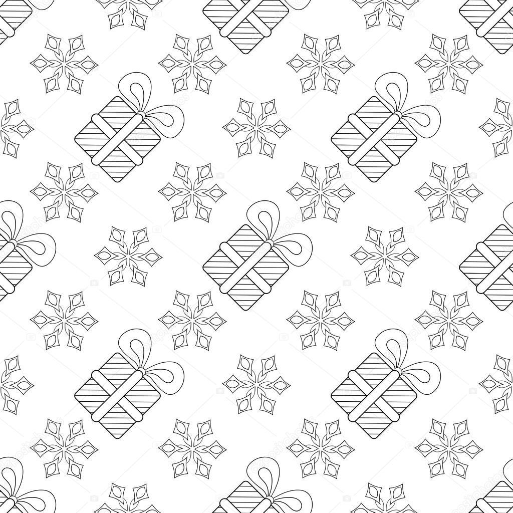 Los copos de nieve con la Navidad regalo patrones sin fisuras de la ...