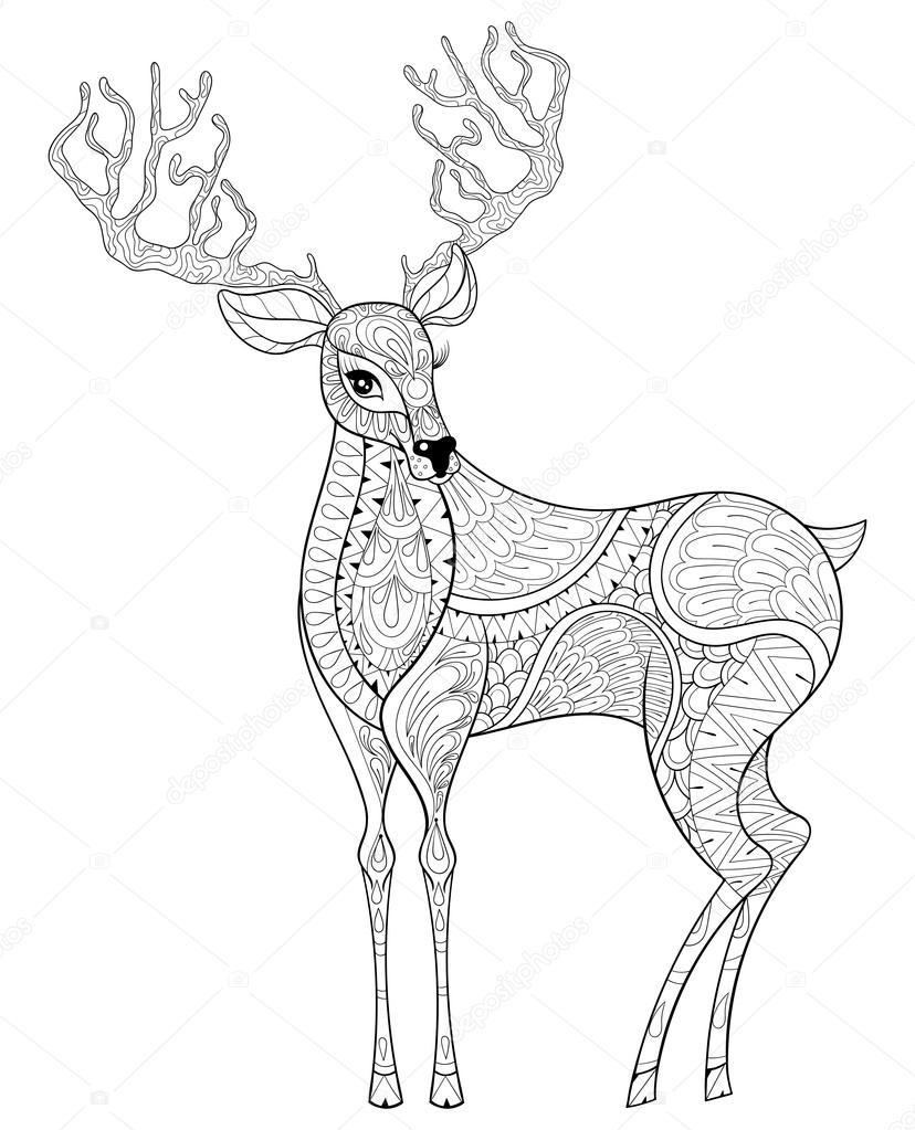 Zentangle Noel Reindeer Boynuzlu Geyik Yetişkin Antist Için Vektör