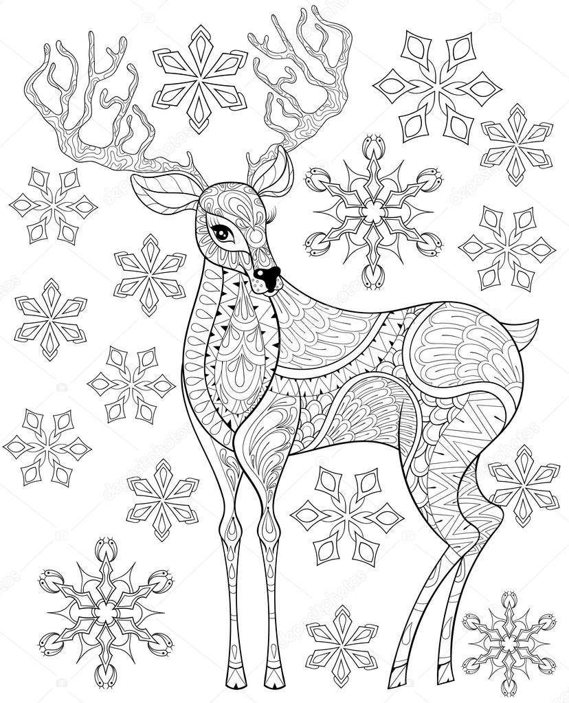 Kleurplaten Kerst A4.Zentangle Kerst Rendieren Op Sneeuwvlokken Vector Voor Volwassen