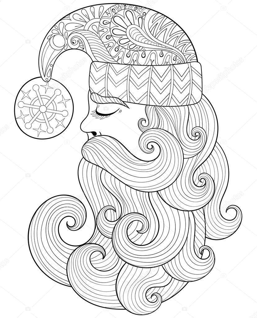 Vector ilustración de Navidad, Santa Claus zentangle para el adulto ...