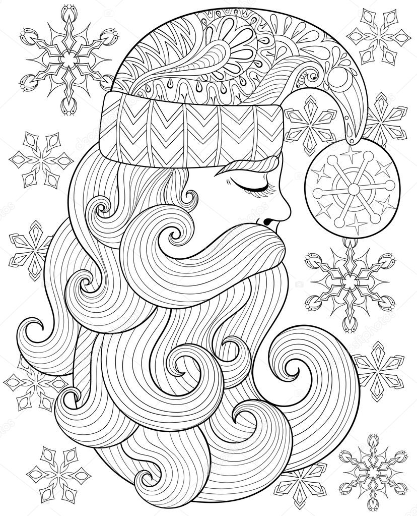 Vector Zentangle Santa Claus For Adult Antistress Coloring Pages Hand Drawn Illustration New Year 2017 Christmas Greeting Cards Posters Invitation