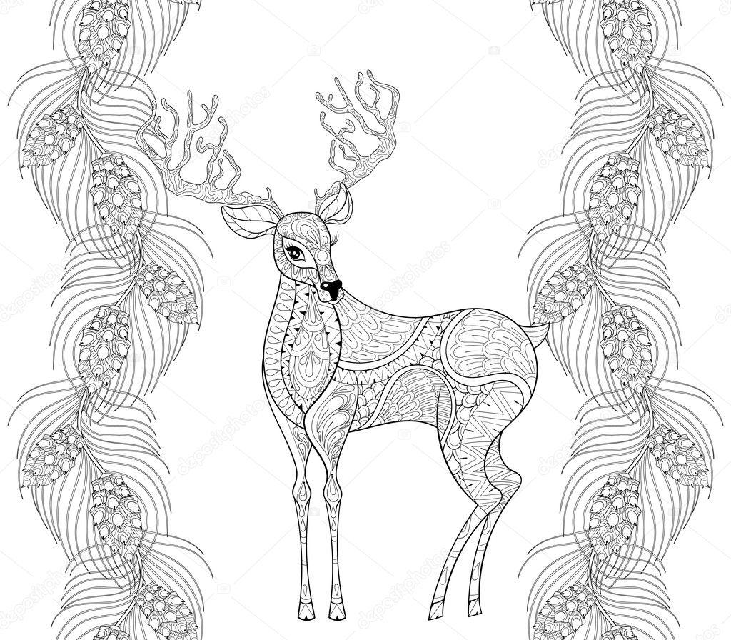 Zentangle Reno con abeto, marco inconsútil de rama de pino para la ...