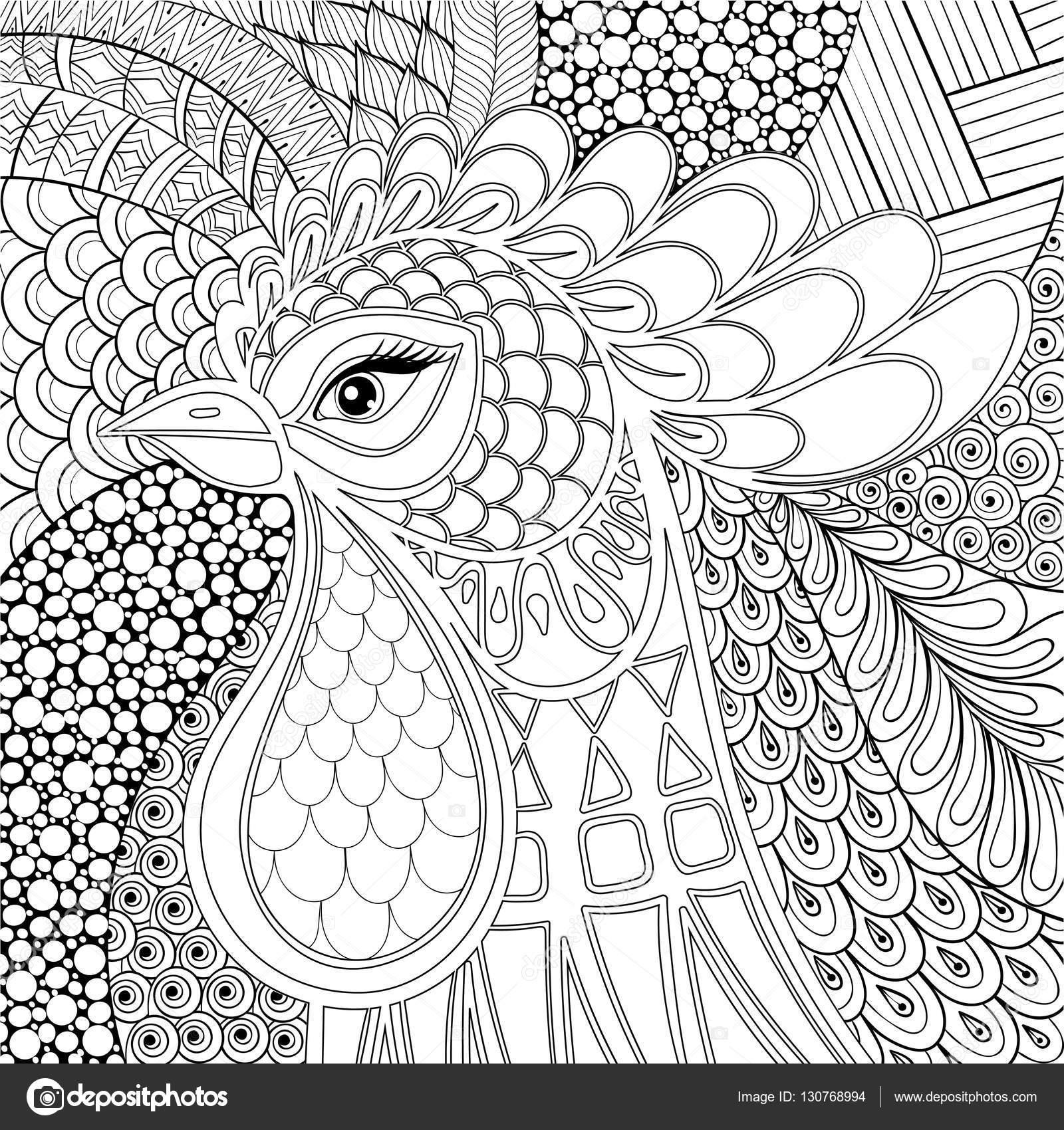 Zentangle Hahn-Vektor-Illustration. Symbol-2017-Neujahr ...