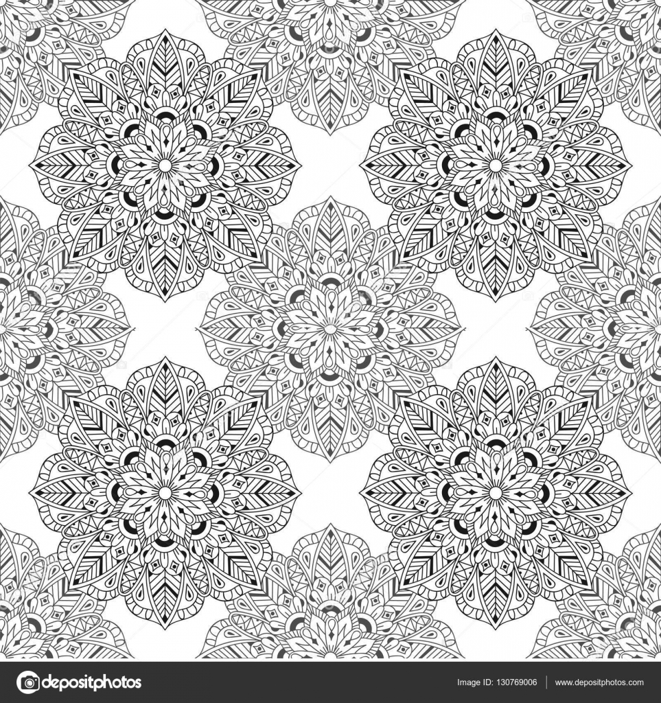 Zentangle Mandala Seamless Pattern In Doodle Style Hand Drawn Vector Illustration For Adult Antistress Coloring Pages