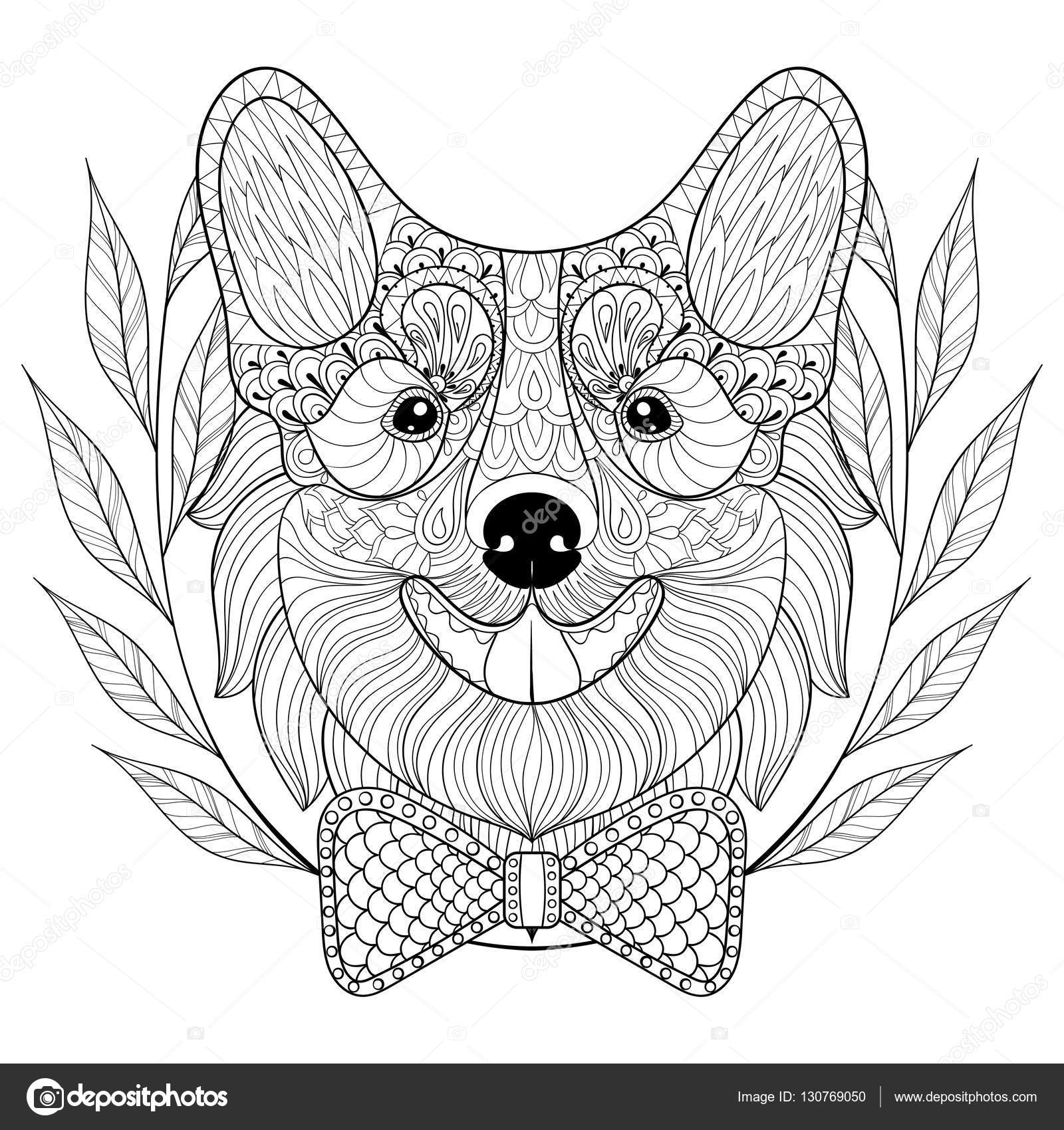 Zentangle Welsh Corgi with bow tie in wreath frame, doodle style ...
