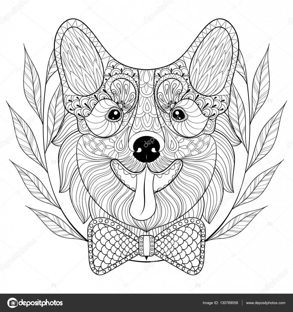 Welsh Corgi mit Fliege im Kranz Frame doodle Stil. Hand gezeichnet ...