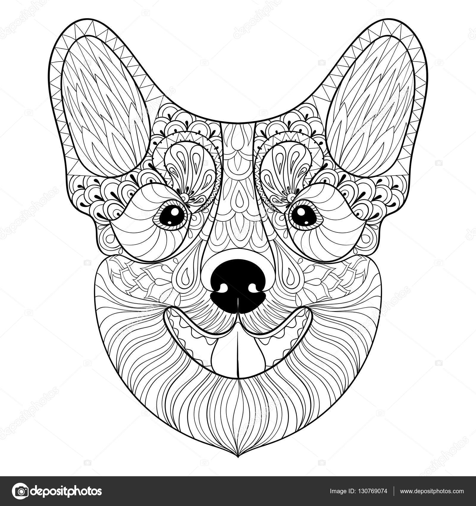 - Corgi Coloring Pages Zentangle Dog Face In Monochrome Doodle