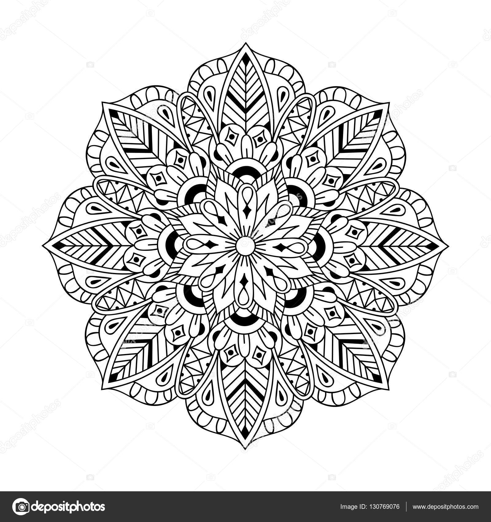 Zentangle Mandala In Monochrome Doodle Style Hand Drawn