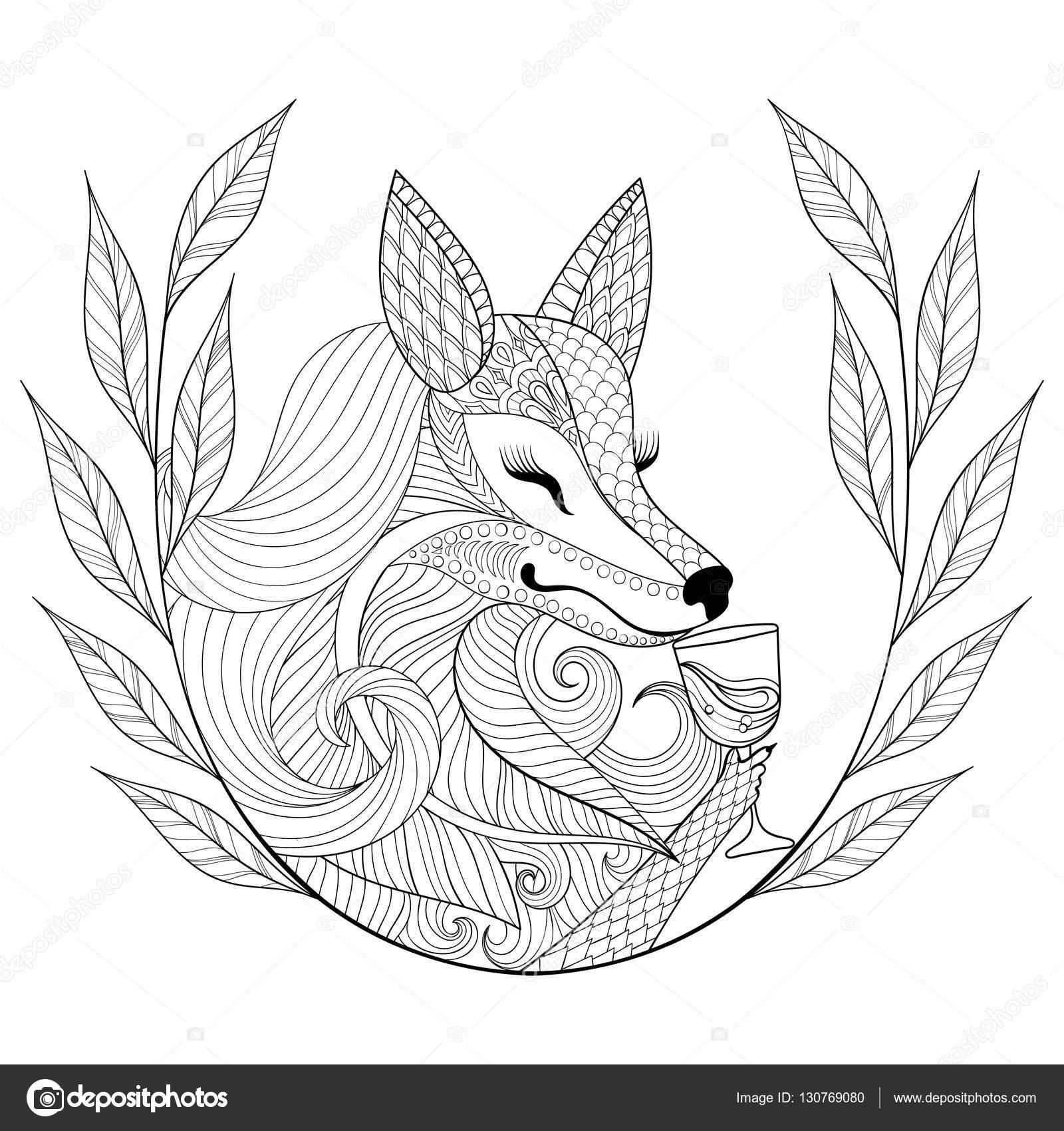zentangle fox com copo de vinho em monocromático doodle estilo mão