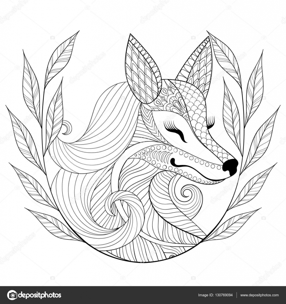 zentangle fox face in monochrome doodle style hand drawn wild animal with wreath vector face illustration for adult coloring pages books art therapy