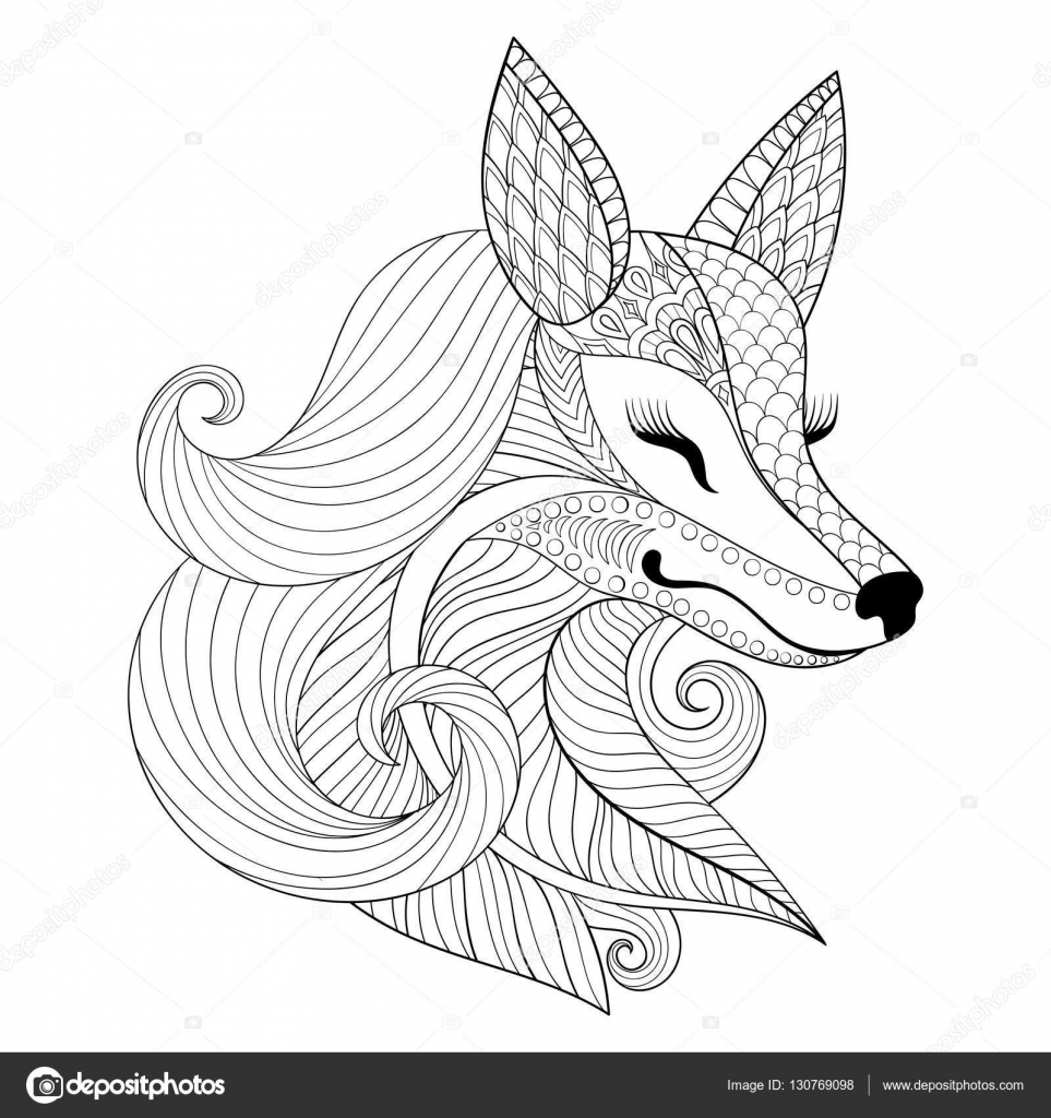 Zentangle Fox face in monochrome doodle style. Hand drawn ...